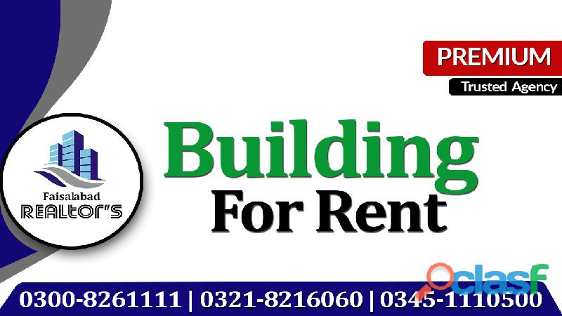 23 Marla Semi Commercial Outclass Luxurious Bungalow For Rent Jannah Colony Faisalabad.