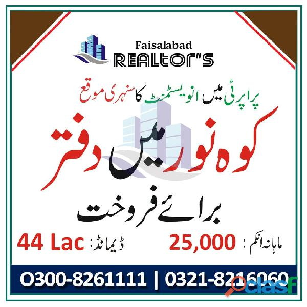 Offices For Sale With Good Rental Income For Investment At Prime Location Faisalabad