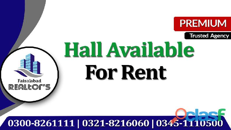 Hall on rent for stitching unit and embroidery unit at jarranwala road