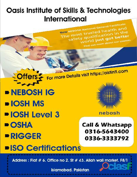 HSE New Nebosh IG Training Course in Islamabad, Lahore, Faisalabad, Pakistan O3165643400 1