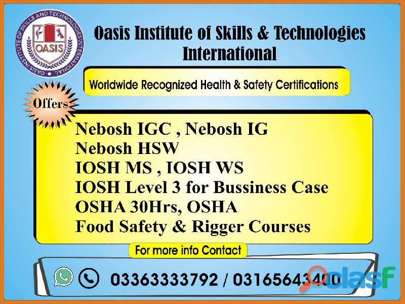 HSE New Nebosh IG Training Course in Islamabad, Lahore, Faisalabad, Pakistan O3165643400 3
