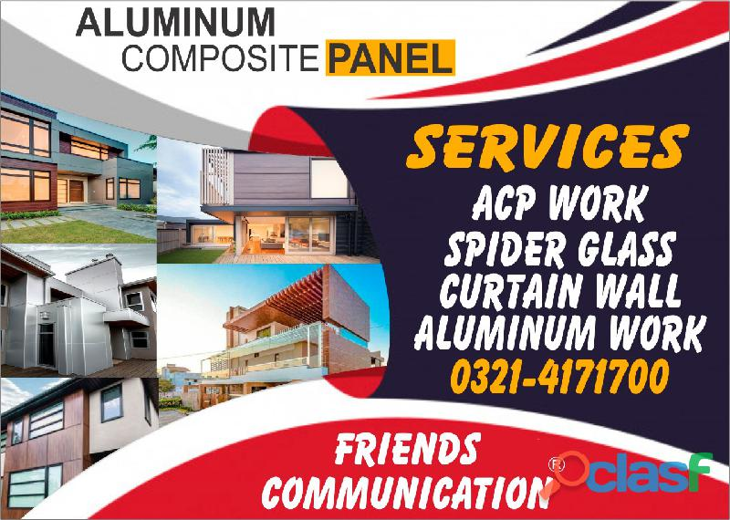 Alucobond, cladding, front facia, Spider glass, curtain wall