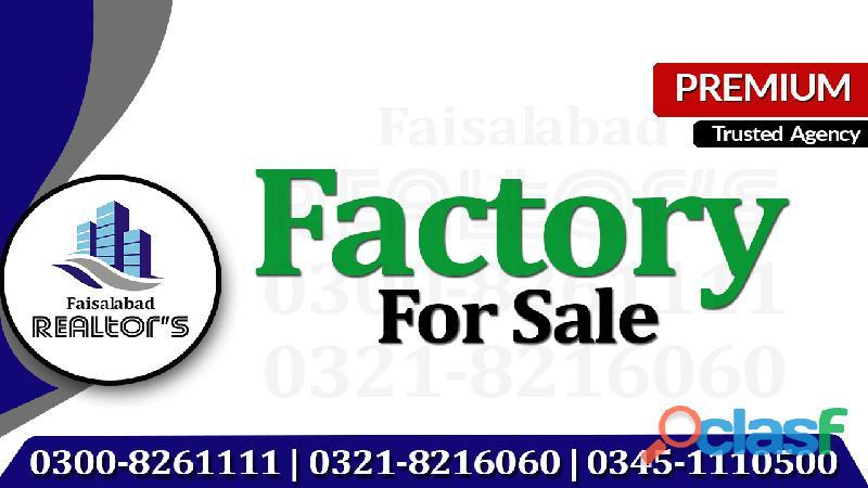 Ideal 8 kanal factory for sale at small estate sargodha road faisalabad