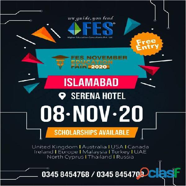 Fes november education fair 2020 @ all major cities of pakistan\