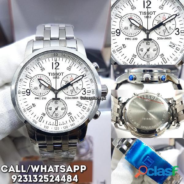 Tissot prc 200 chronograph white dial men watch