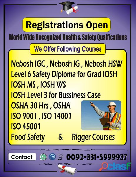 Othm level 6 safety diploma in karachi o3315999937