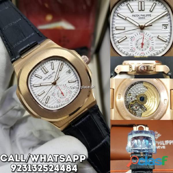 Patek philippe nautilus white dial black leather strap watch