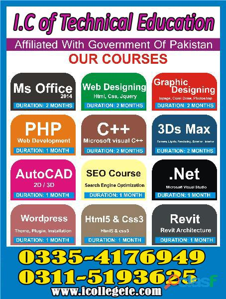 Diploma in it (dit) course in sialkot faisalabad