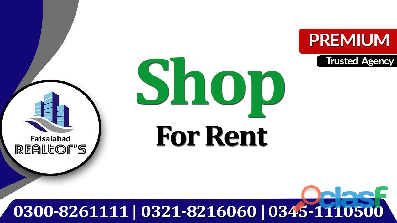 Ground floor shop available on rent for hardware utility store fast food clinic at madina town