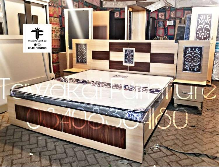 Beech and natural teak fancy lighting 5 piece bed set with