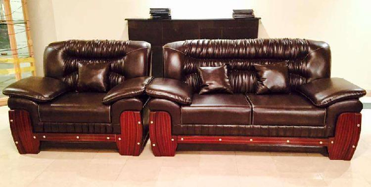 Brown leather sofa set and all home accessories bed dining