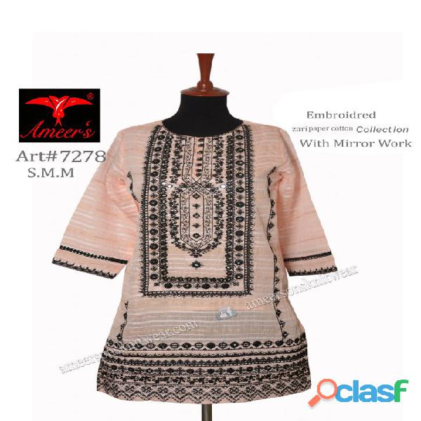 Fancy zari paper cotton collection with mirror work by ameer sons knitwear