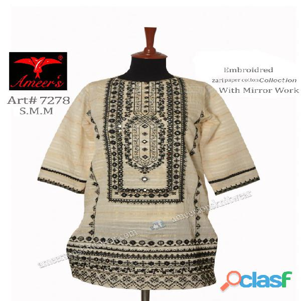 Fancy Zari Paper Cotton Collection With Mirror Work By Ameer Sons Knitwear 1