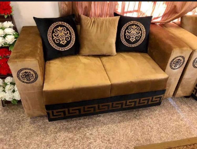 Golden sofa set and all furniture of my home bed