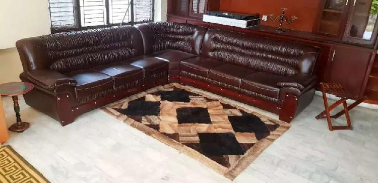 Leather fantastic Sofa Brown corner sofa bed dining AllHome