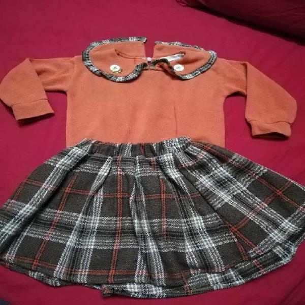 Warm Shirt + Check pattern Skirt
