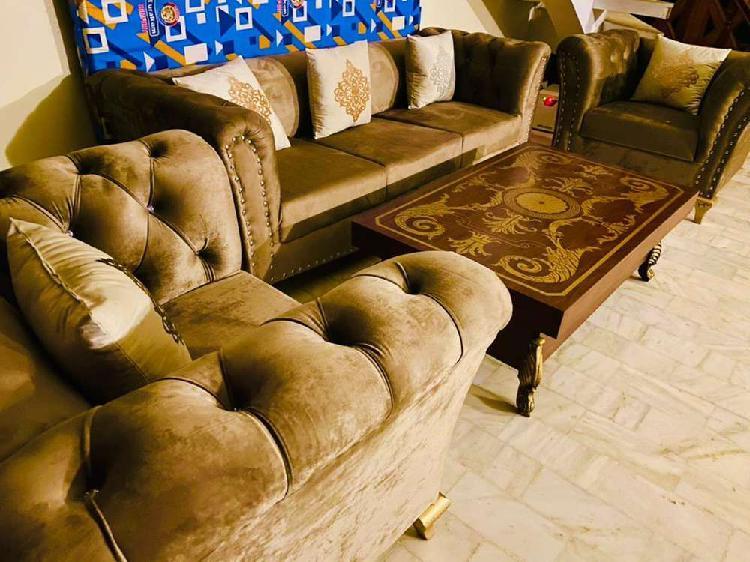 Grey sofa set printed cushions 6 seater 3 piece brand new