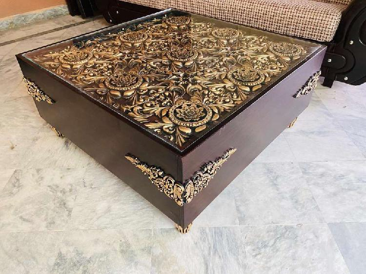 Golden center table with chinyoti work brand new bed sofa