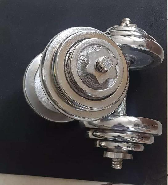 Adjustable dumbbell crome plated &rubber coated