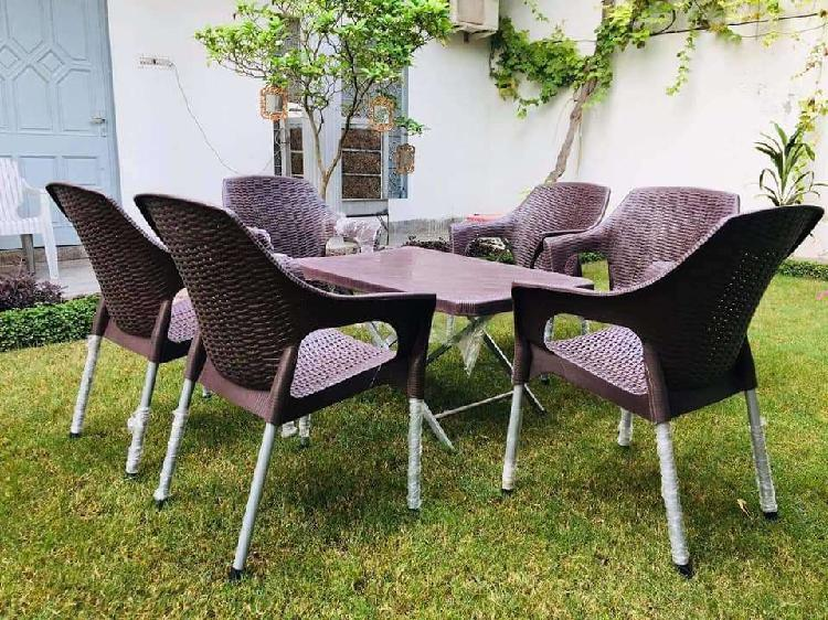 Plastic chairs and folding tables