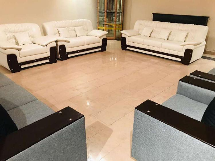 White sofa in leather and brown sofa leather bed dining