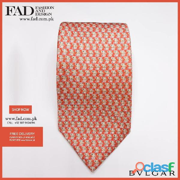 Bvlgari Orange Tight Tie Fashion & Design Pakistan