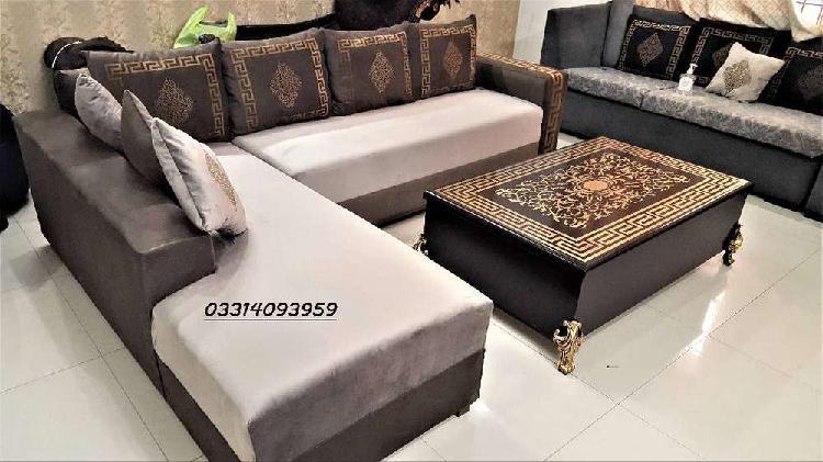 Corner versachi l shape sofa,thick wood structure & molty