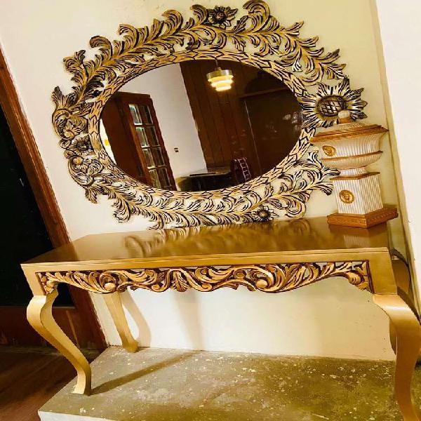 Antique gold console mirror home furniture bed dining table