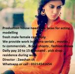 Production house need new faces for acting, modelling,
