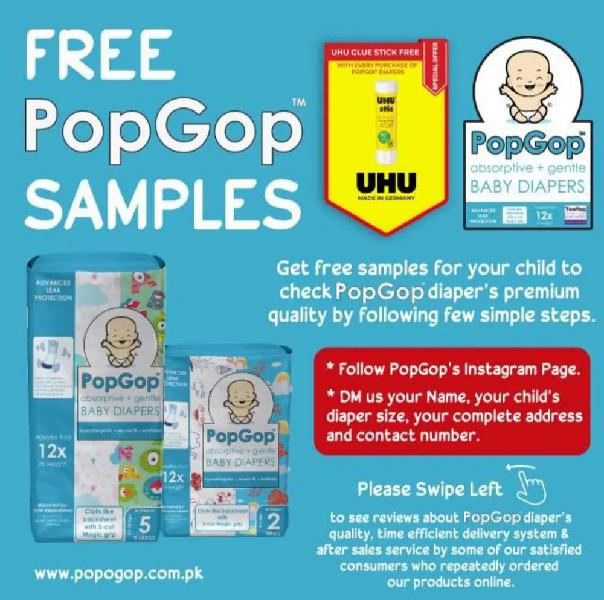 PopGop Baby Diapers (FREE SAMPLES / FREE DELIVERY)