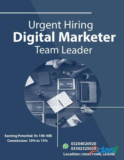 Hiring Digital Marketer Team Leader.