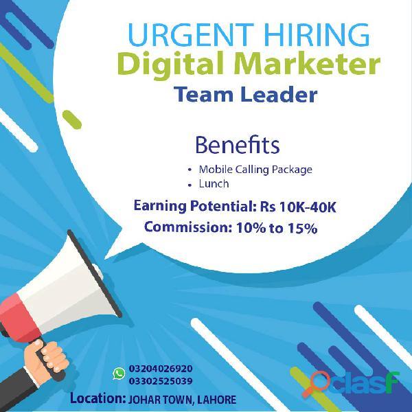 Urgent Hiring Digital Marketer Team Leader