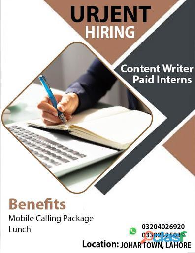 Urgent Hiring Content Writer Paid Interns