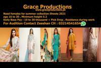 Need male feamles for summer collection brand shoots, lahore
