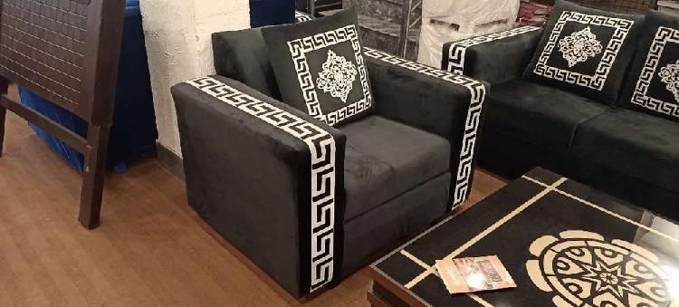 Sofa set blue and black 20% big discount