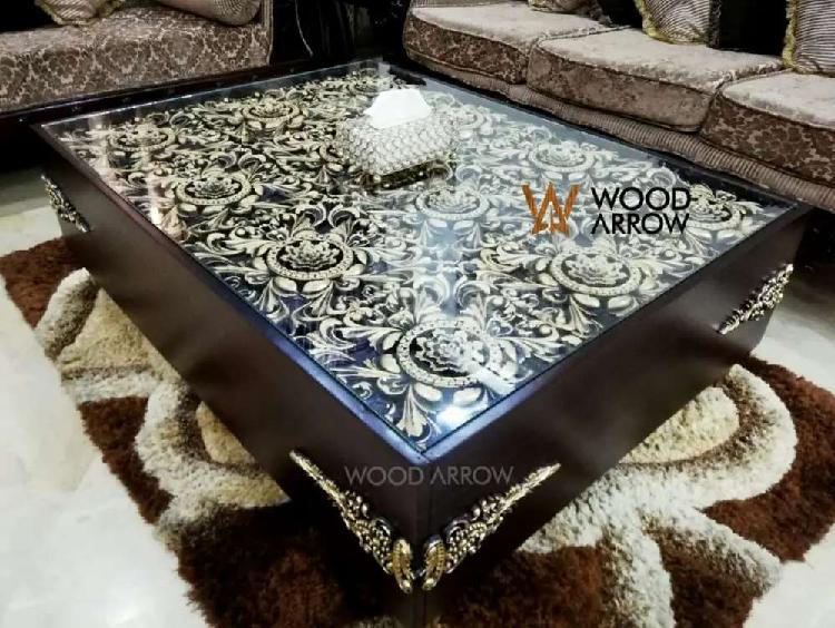 Antique style center table 3 ft by 4 ft. sofa & dining are