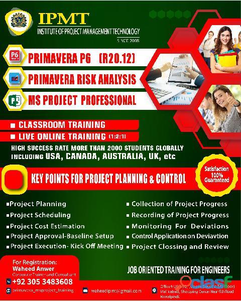 Primavera p6, primavera risk analaysis, ms project training