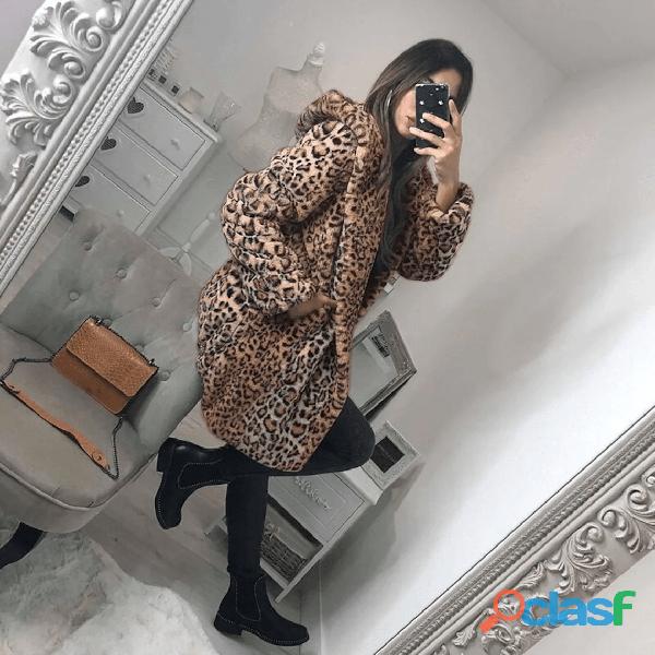 Leopard Print Women Winter Coat