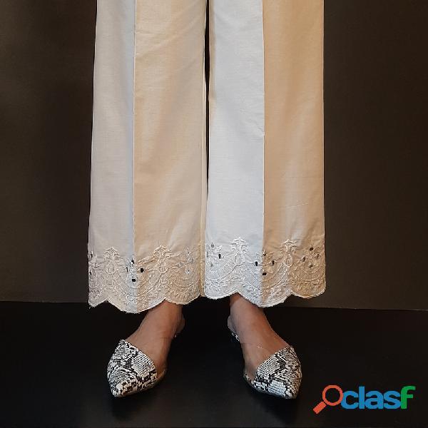 Zardi   mirror work – embroided cotton plazzo – white – zt284